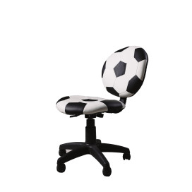 Youth Office Chair with Pneumatic Lift, Soccerball - PU, Plastic, Foam Soccerball : Black & White