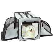 Pet Life Capacious Dual-Expandable Wire Folding Lightweight Collapsible Travel Pet Dog Crate - Small - Grey