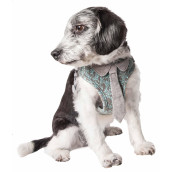 Pet Life 'Fidomite' Mesh Reversible And Breathable Adjustable Dog Harness W/ Designer Neck Tie, Blue / Grey - X-Small