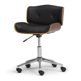 Dax Bentwood Office Chair in Black Faux Leather