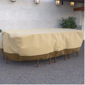 Dura Covers Fade Proof Rectangular Oval Heavy Duty Patio Table And Chair Set Cover - Durable And Water Resistant Outdoor Furniture Cover, Xl