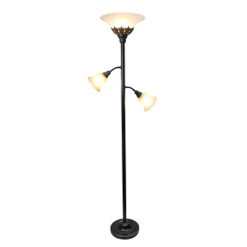 Elegant Designs 3 Light Floor Lamp With White Scalloped Glass Shades, Restoration Bronze And White