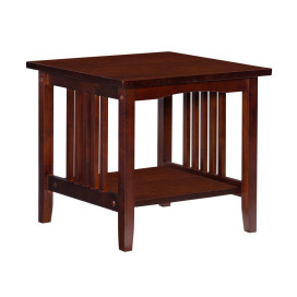 Mission Style Wooden End Table With Open Bottom Shelf, Walnut Brown