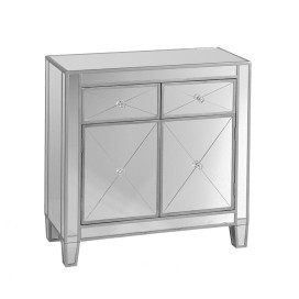 The Urban Port Mirrored Storage Cabinet With 2 Drawers And 2 Doors, Silver & Clear