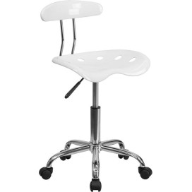 Vibrant Deep Blue and Chrome Drafting Stool with Tractor Seat - LF-215-DEEPBLUE-GG