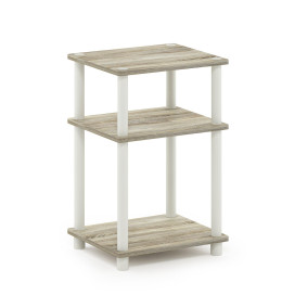 Furinno Just 3-Tier Turn-N-Tube End Table, Sonoma Oak/White
