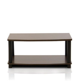 Furinno 13191DBR/BK Turn-N-Tube No Tools 2-Tier Elevated TV Stands