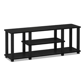 Furinno 18027 Turn-S-Tube No Tools 3D 3-Tier Entertainment TV Stands with Square Tube, Americano/Black