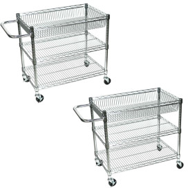"""Luxor LICWT2918 Large Wire 3 Tub Shelves Rolling Cart - 30""""W x 18""""D x 30""""H (pack of 2)"""