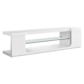 """High Glossy White 60""""L Tv Console With Tempered Glass"""
