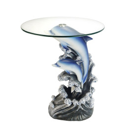 """24"""" Tall Glass Top End Table, Polyresin Dolphin Base"""