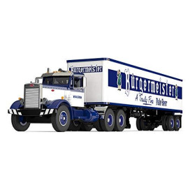 Peterbilt 351 Day Cab with 40' Vintage Trailer Burgermeister Blue and White 25th in a Fallen Flags Series 1/64 Diecast Model by First Gear