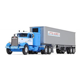 Peterbilt 351 Long Frame with 63 Sleeper Bunk and 40' Vintage (Reefer) Refrigerated Trailer Little Audrey's Transportation Blue and White 26th in a Fallen Flags Series 1/64 Diecast Model by First Gear