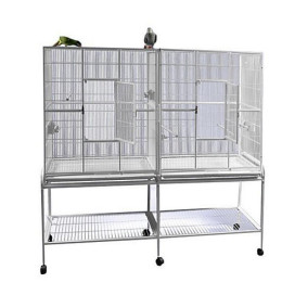 64x21 Double Flight Cage with Divider 6421 White