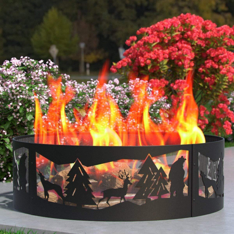 Regal Flame Heavy Duty 38 Wilderness Wood Fire Pit Fire Ring Heavy-Duty and Perfect for RV, Camping, and Outdoor Fireplace