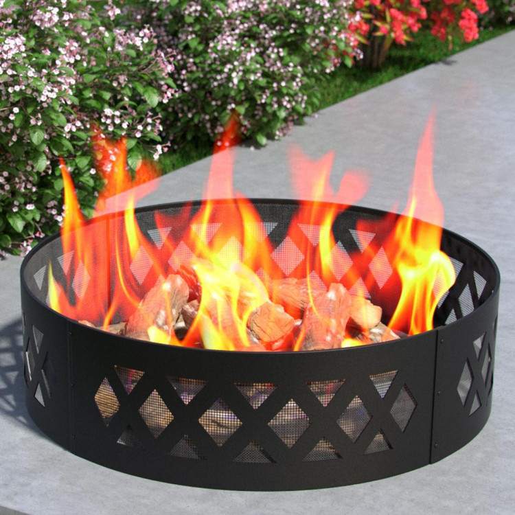Regal Flame Heavy Duty 38 Crossweave Wood Fire Pit Fire Ring Heavy-Duty and Perfect for RV, Camping, and Outdoor Fireplace